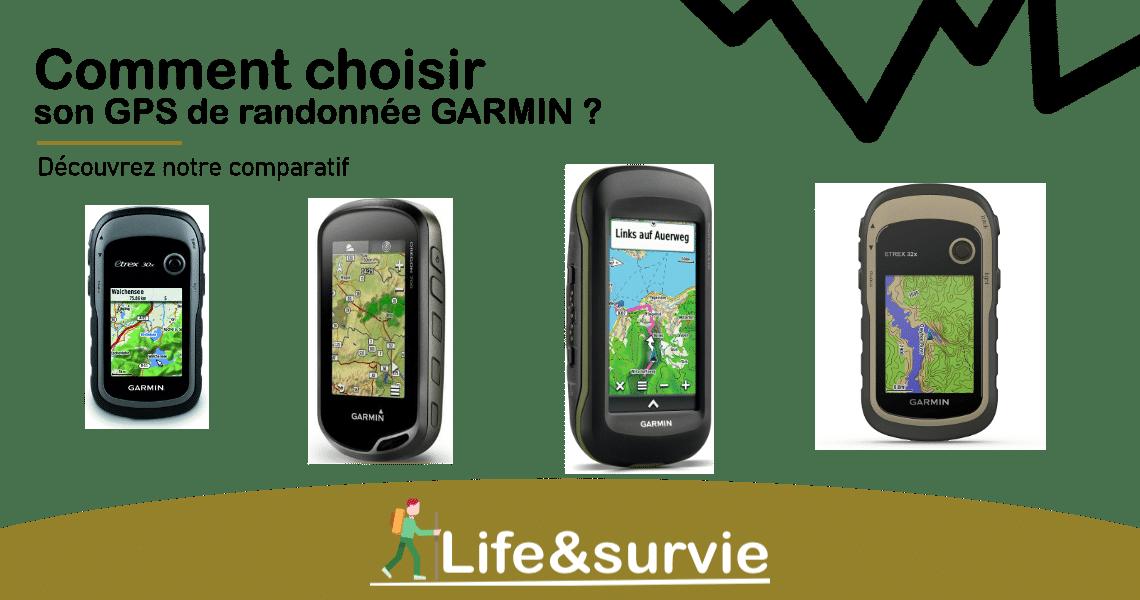 Fiche comparatif life and survie GPS de randonnée garmin