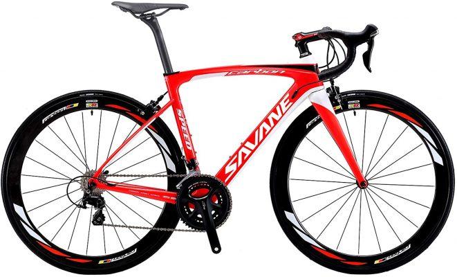 Savadeck Vélo de route en carbone Rouge