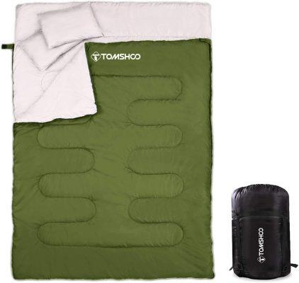 TOMSHOO vert Sac de Couchage 2 Places pour Camping